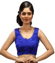Royal blue handwork blouse dupion silk stitched blouse