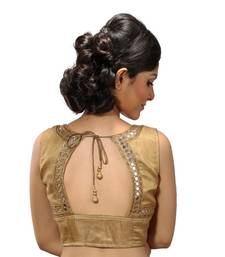 Buy Gold mirror work silk stitched blouse sleeveless-blouse online
