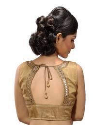 Gold mirror work silk stitched blouse