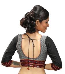 Buy Black and white mirror work silk stitched blouse blouse online