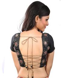 Black mirrorwork dupion silk stitched blouse