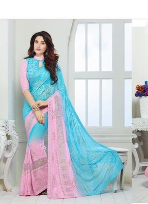 Sky Blue & Pink Chiffon saree with blouse
