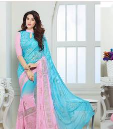 Buy Sky Blue & Pink Chiffon saree with blouse black-friday-deal-sale online