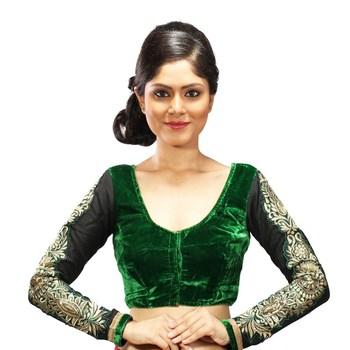 Green velvette embroidered full sleeves blouse