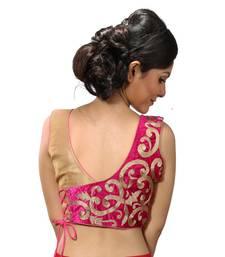 Buy Golden and pink velvette blouse readymade-blouse online