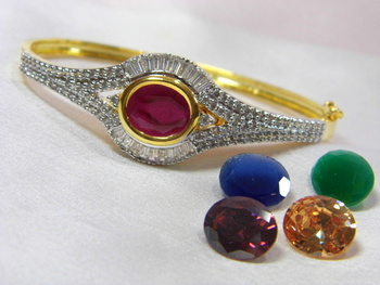Beautiful American Diamond Bracelet with changeable five color stones