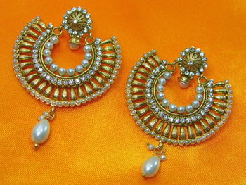 Beautiful Antique Ramleela pattern Pearl Earrings