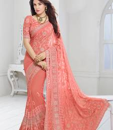 Buy peach embroidered chiffon saree with blouse women-ethnic-wear online