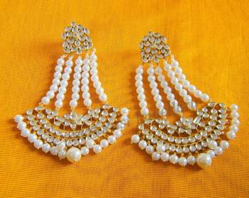 Kundan Pearl Bridal Jhumer Style Earrings