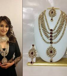 Buy Famous Bollywood Replica Jewelry Set in Maroon with Pearls bridal-set online