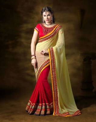 Pale Yellow and Red Half n Half Party Wear Saree