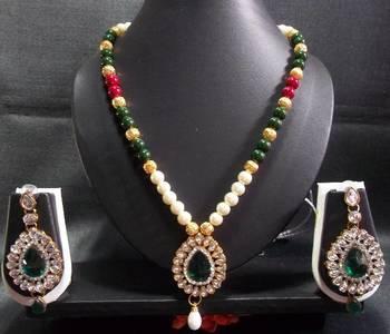 Kundan Peandant Pearl Necklace Set