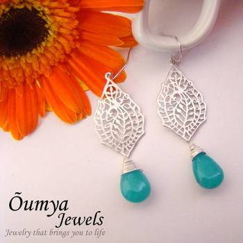 Silver Glaze earrings with Paisley design and blue drop