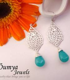 Buy Silver Glaze earrings with Paisley design and blue drop gifts-for-girlfriend online