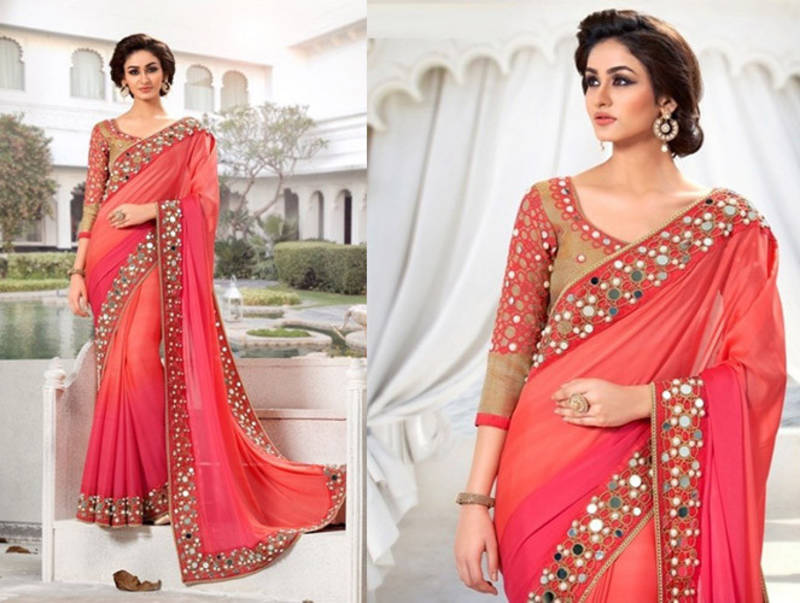Buy mira enterprise gorgeous pink beautiful mirror work for Mirror work saree