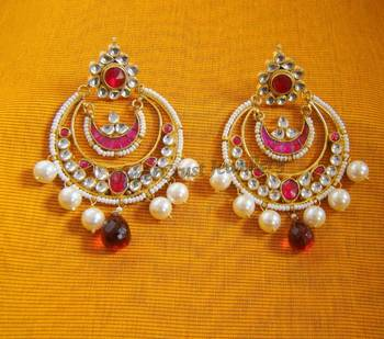 Kundan Pearl Hot Pink Jadtar Chand Bali Earrings