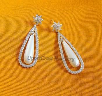 Elegant Zircon Pearl Drops Earrings