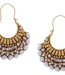 Buy BEAUTIFUL GOLD PLATED FULL WHITE PEARLS HOOK HANGINGS danglers-drop online
