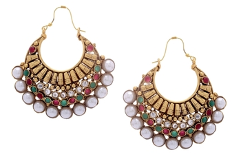 BEAUTIFUL GOLD PLATED RED GREEN N WHITE PEARLS HOOK HANGINGS