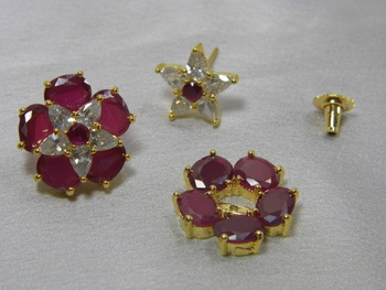 Beautiful dual purpose American Diamond and Ruby Earings.