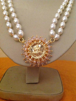 Kundan Double Line Pearl Necklace for sale