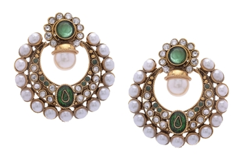 BEAUTIFUL GOLD PLATED GREEN N WHITE PEARLS ROUND HANGINGS