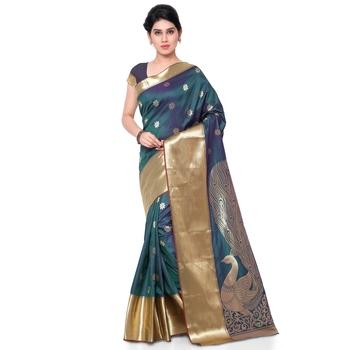 rama green hand woven art silk saree With Blouse