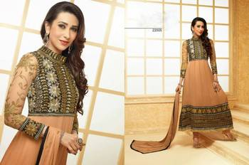 Beige Karishma Kapoor Embroidered Designer Anarkali Suit