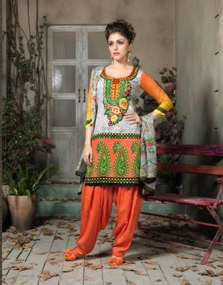 cotton satin salwar suit