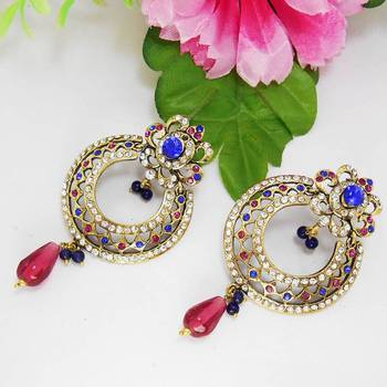 Victorian Circle Cutting Danglers Blue Pink