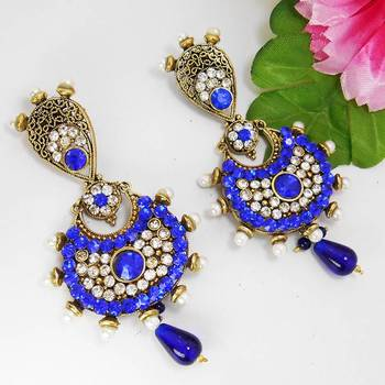 Victorian Antique Pendant Danglers Royal Blues