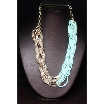 Necklace in Sky Blue and Grey Rope style
