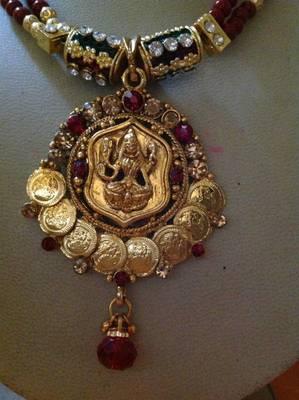 Goddess laxmi necklace set for festive season gold plated coins