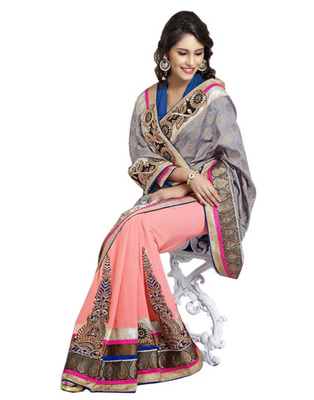 Designer Multi Color Faux Georgette, Brasso Party Wear Saree