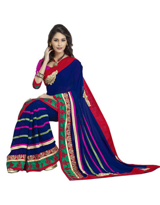 Designer Magenta & Navy Blue Faux Georgette Party Wear Saree