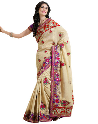 Cream & Purple Georgette Party Wear Saree