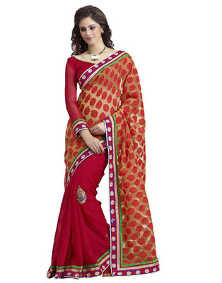 Red Cotton, Jacquard Patch Work Saree