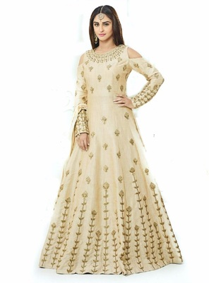 Cream silk embroidered semi stitiched salwar with dupatta