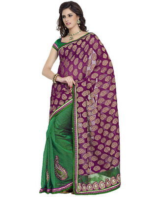 Purple & Green Silk, Cotton, Jacquard Patch Work Saree