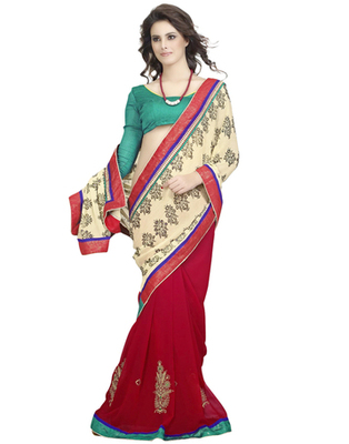 Red & Cream Chiffon, Faux Georgette Resham Work Saree
