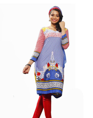 Designer Blue Color Cotton Fabric Printed Dress Material