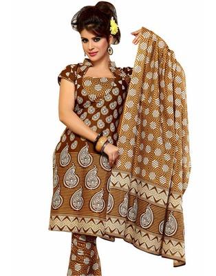 Designer Brown Color Cotton Fabric Printed Dress Material