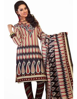 Designer Black, Red Color Cotton Fabric Printed Dress Material