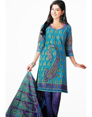 Designer Blue Color Cotton Fabric Printed Dress Material