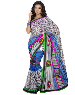 Designer Multicolor Color Net, Faux Georgette Fabric Appliqued Saree