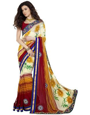 Designer Multicolor Color Chiffon Fabric Appliqued Saree