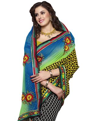 Designer Multicolor Color Chiffon Fabric Border Work Saree