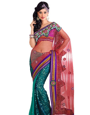 Designer Red, Green Color Net, Faux Georgette, Brasso Fabric Embroidered Saree