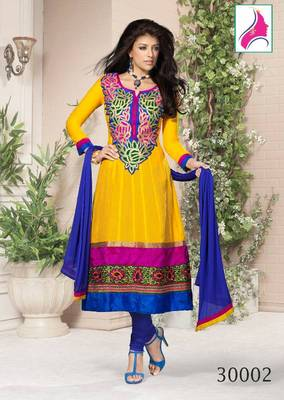 RITI RIWAZ Enchanting Printed Suit in Pure Chanderi Fabric  & With Awesome  Golden Color  30002