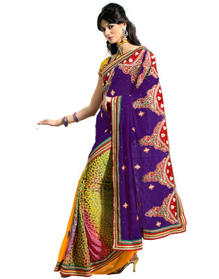 Designer Purple Color Brasso, Faux Georgette Fabric Embroidered Saree